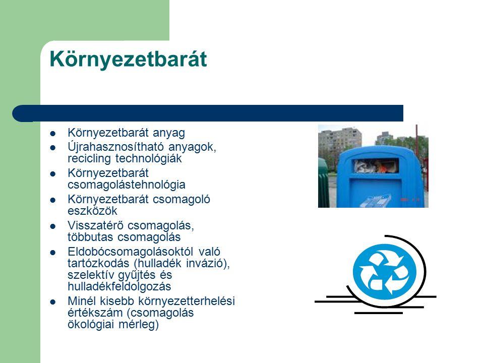 Környezetbarát Környezetbarát anyag Újrahasznosítható anyagok, recicling technológiák Környezetbarát csomagolástehnológia Környezetbarát csomagoló eszközök Visszatérő csomagolás, többutas csomagolás Eldobócsomagolásoktól való tartózkodás (hulladék invázió), szelektív gyűjtés és hulladékfeldolgozás Minél kisebb környezetterhelési értékszám (csomagolás ökológiai mérleg)