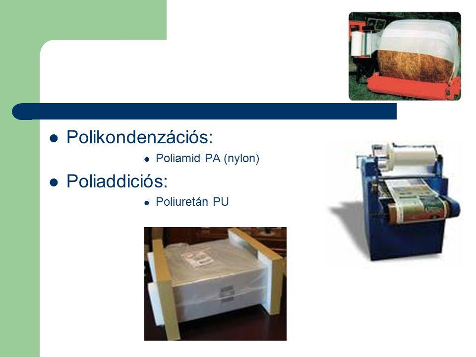 Polikondenzációs: Poliamid PA (nylon) Poliaddiciós: Poliuretán PU
