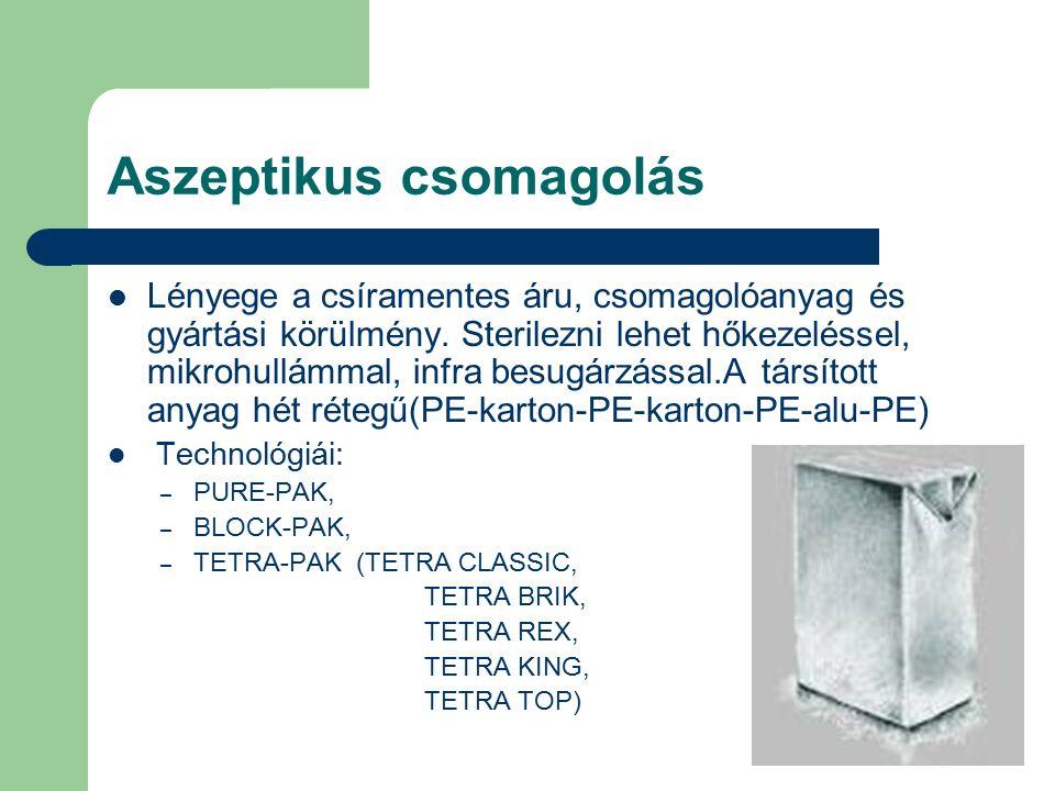Aszeptikus csomagolás Lényege a csíramentes áru, csomagolóanyag és gyártási körülmény.