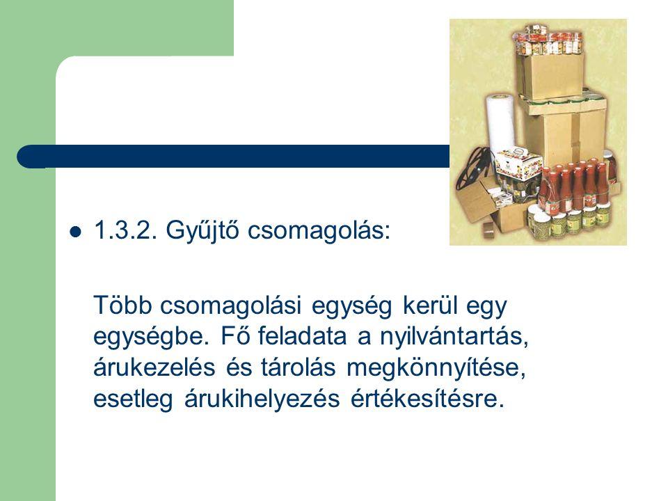 1.3.2. Gyűjtő csomagolás: Több csomagolási egység kerül egy egységbe.