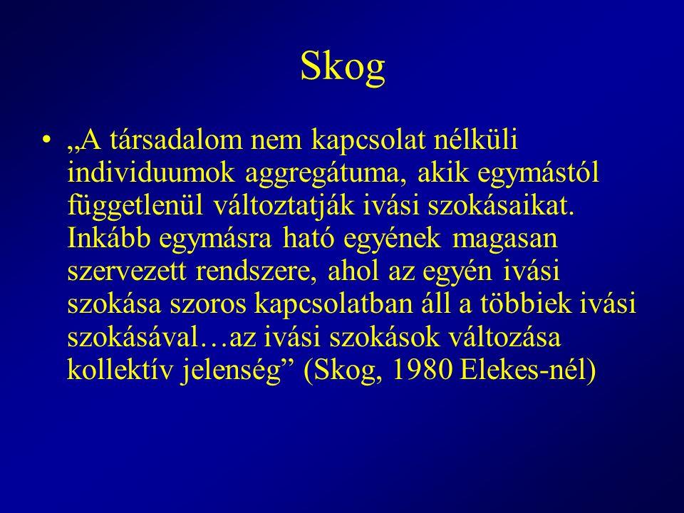 """Skog """"A társadalom nem kapcsolat nélküli individuumok aggregátuma, akik egymástól függetlenül változtatják ivási szokásaikat. Inkább egymásra ható egy"""