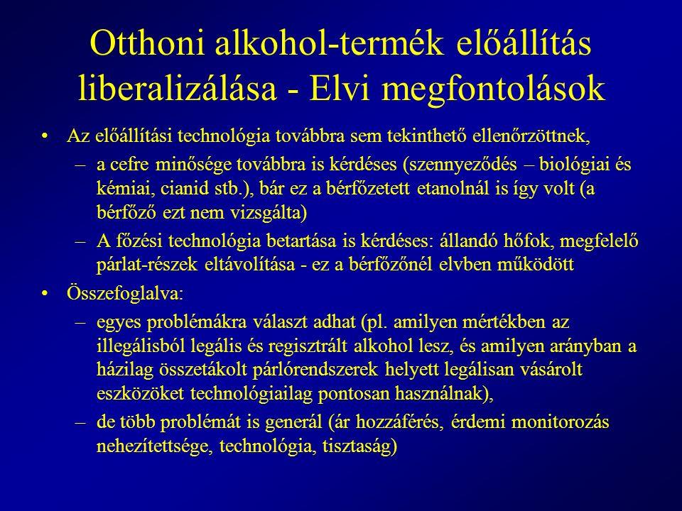 Otthoni alkohol-termék előállítás liberalizálása - Elvi megfontolások Az előállítási technológia továbbra sem tekinthető ellenőrzöttnek, –a cefre minő