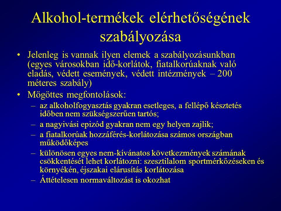 Alkohol-termékek elérhetőségének szabályozása Jelenleg is vannak ilyen elemek a szabályozásunkban (egyes városokban idő-korlátok, fiatalkorúaknak való