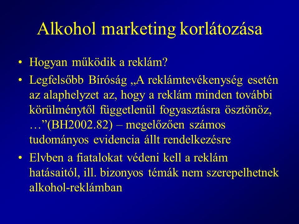 """Alkohol marketing korlátozása Hogyan működik a reklám? Legfelsőbb Bíróság """"A reklámtevékenység esetén az alaphelyzet az, hogy a reklám minden további"""