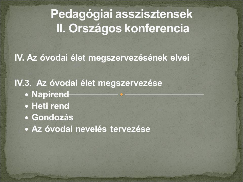 IV. Az óvodai élet megszervezésének elvei IV.3. Az óvodai élet megszervezése Napirend Heti rend Gondozás Az óvodai nevelés tervezése