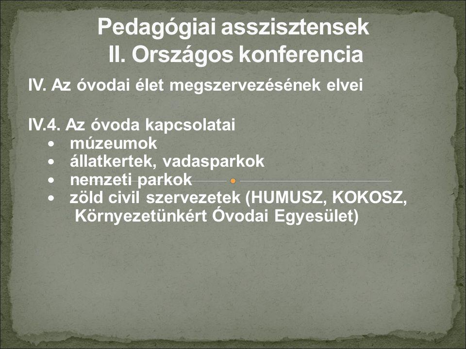 IV. Az óvodai élet megszervezésének elvei IV.4. Az óvoda kapcsolatai múzeumok állatkertek, vadasparkok nemzeti parkok zöld civil szervezetek (HUMUSZ,