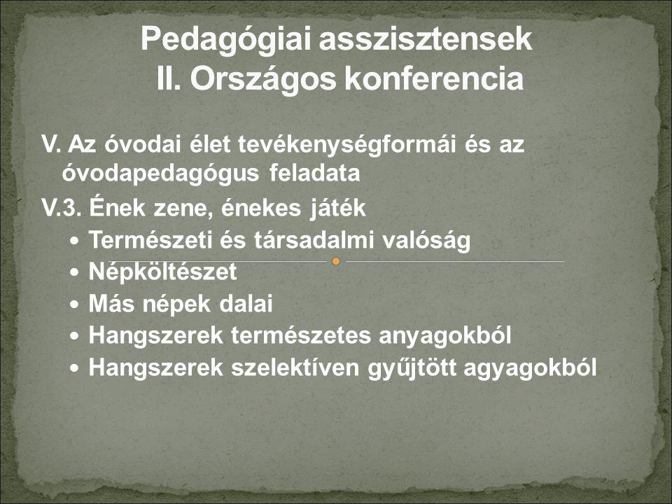 V. Az óvodai élet tevékenységformái és az óvodapedagógus feladata V.3.
