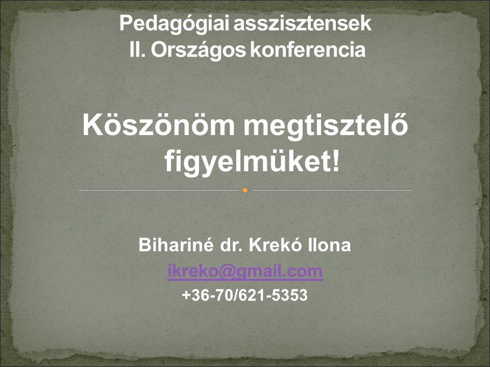Köszönöm megtisztelő figyelmüket! Bihariné dr. Krekó Ilona ikreko@gmail.com +36-70/621-5353