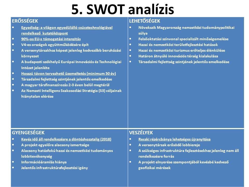 5. SWOT analízis ERŐSSÉGEK  Egyediség: a világon egyedülálló csúcstechnológiával rendelkező kutatóközpont  90%-os EU-s támogatási intenzitás  V4-es