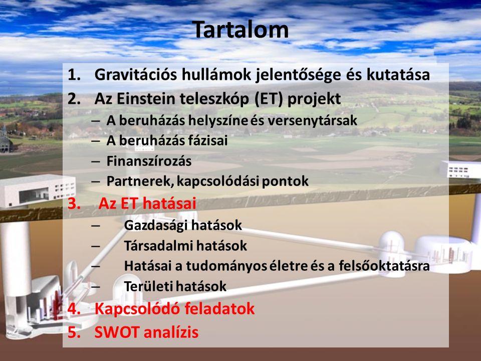 Tartalom 1.Gravitációs hullámok jelentősége és kutatása 2.Az Einstein teleszkóp (ET) projekt – A beruházás helyszíne és versenytársak – A beruházás fá