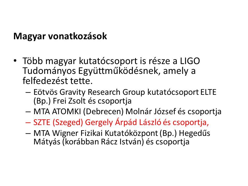 Magyar vonatkozások Több magyar kutatócsoport is része a LIGO Tudományos Együttműködésnek, amely a felfedezést tette. – Eötvös Gravity Research Group