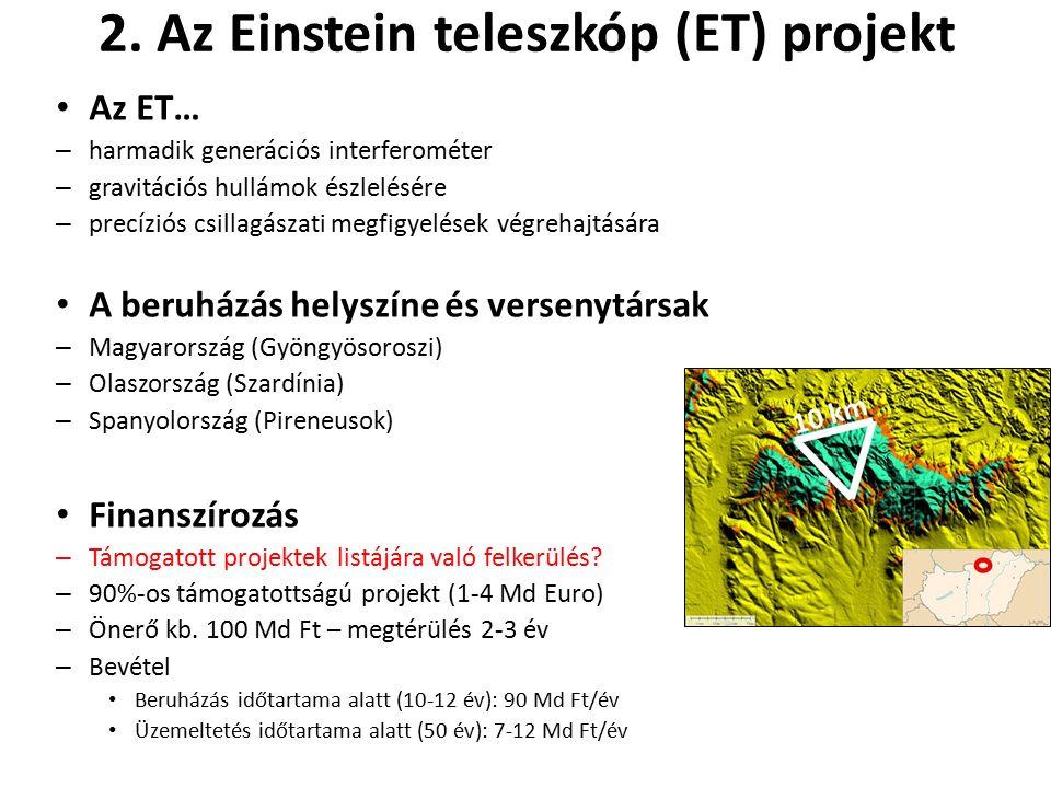 2. Az Einstein teleszkóp (ET) projekt Az ET… – harmadik generációs interferométer – gravitációs hullámok észlelésére – precíziós csillagászati megfigy