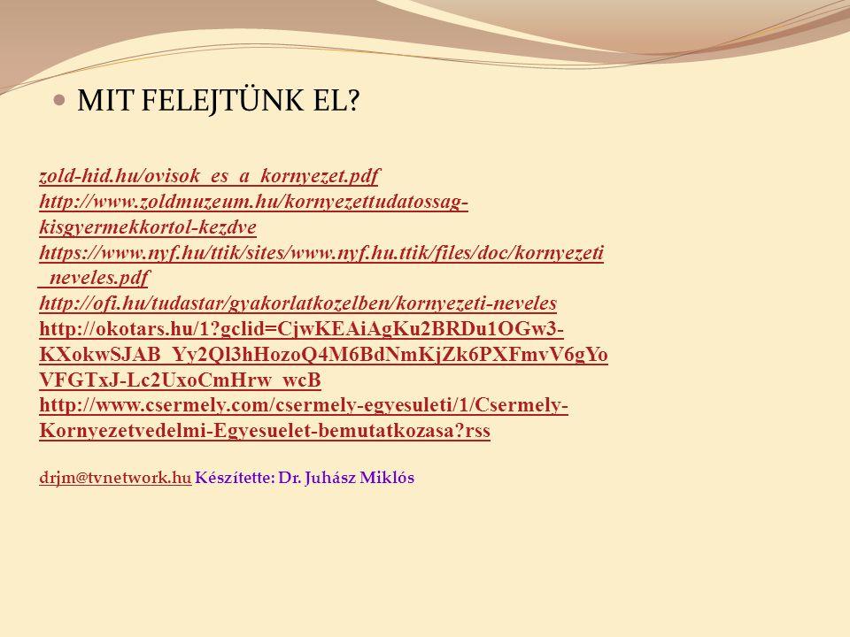MIT FELEJTÜNK EL? zold-hid.hu/ovisok_es_a_kornyezet.pdf http://www.zoldmuzeum.hu/kornyezettudatossag- kisgyermekkortol-kezdve https://www.nyf.hu/ttik/