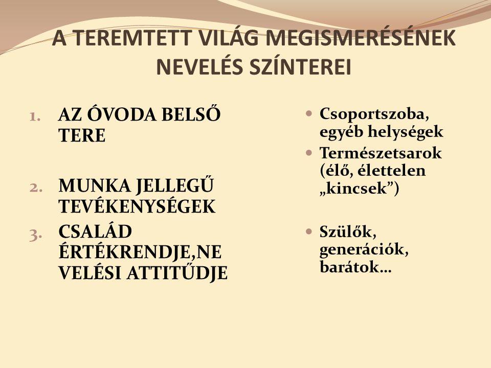 A TEREMTETT VILÁG MEGISMERÉSÉNEK NEVELÉS SZÍNTEREI 1.