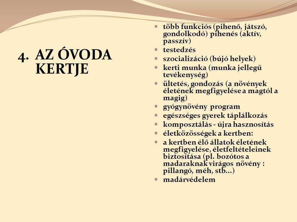4. AZ ÓVODA KERTJE több funkciós (pihenő, játszó, gondolkodó) pihenés (aktív, passzív) testedzés szocializáció (bújó helyek) kerti munka (munka jelleg