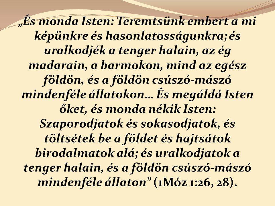 """"""" És monda Isten: Teremtsünk embert a mi képünkre és hasonlatosságunkra; és uralkodjék a tenger halain, az ég madarain, a barmokon, mind az egész földön, és a földön csúszó-mászó mindenféle állatokon… És megáldá Isten őket, és monda nékik Isten: Szaporodjatok és sokasodjatok, és töltsétek be a földet és hajtsátok birodalmatok alá; és uralkodjatok a tenger halain, és a földön csúszó-mászó mindenféle állaton (1Móz 1:26, 28)."""
