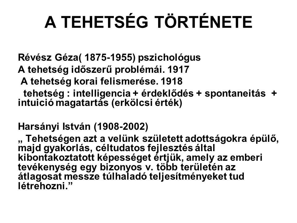A TEHETSÉG TÖRTÉNETE Révész Géza( 1875-1955) pszichológus A tehetség időszerű problémái.