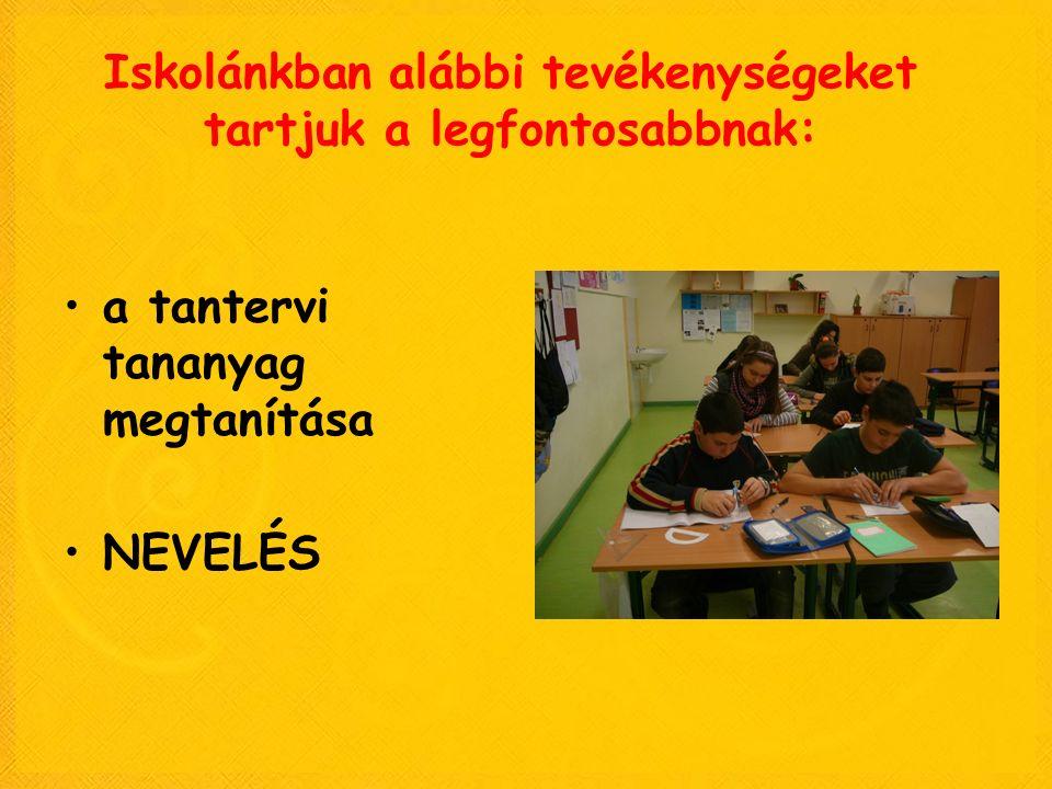 Iskolánkban alábbi tevékenységeket tartjuk a legfontosabbnak: a tantervi tananyag megtanítása NEVELÉS
