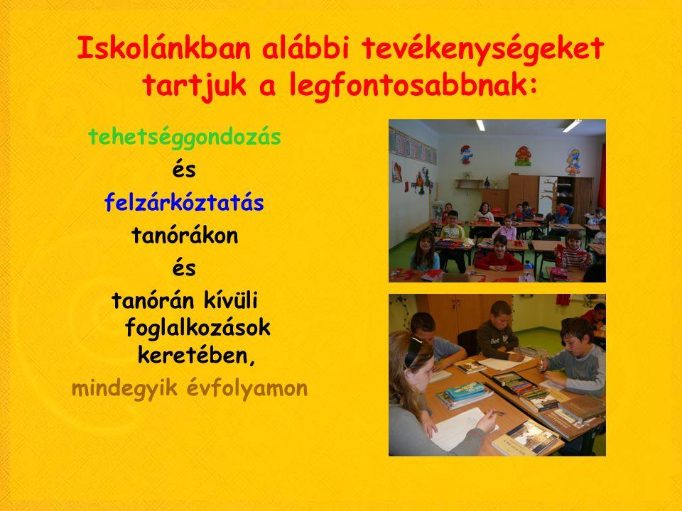 Iskolánkban alábbi tevékenységeket tartjuk a legfontosabbnak: tehetséggondozás és felzárkóztatás tanórákon és tanórán kívüli foglalkozások keretében,
