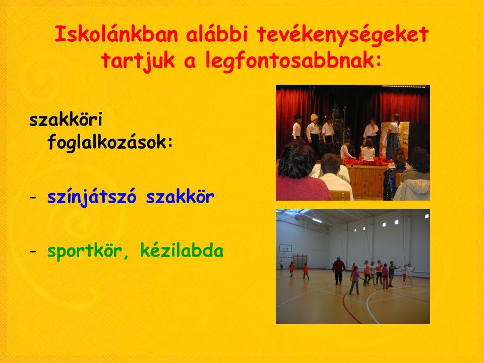 Iskolánkban alábbi tevékenységeket tartjuk a legfontosabbnak: szakköri foglalkozások: -színjátszó szakkör -sportkör, kézilabda