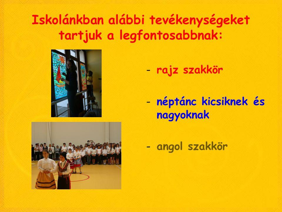 Iskolánkban alábbi tevékenységeket tartjuk a legfontosabbnak: -rajz szakkör -néptánc kicsiknek és nagyoknak -angol szakkör