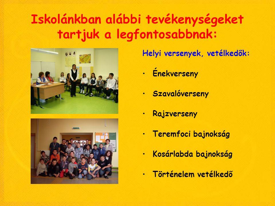 Iskolánkban alábbi tevékenységeket tartjuk a legfontosabbnak: Helyi versenyek, vetélkedők: Énekverseny Szavalóverseny Rajzverseny Teremfoci bajnokság