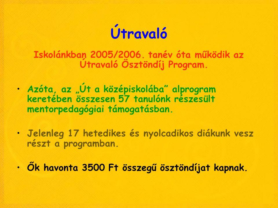 Útravaló Iskolánkban 2005/2006. tanév óta működik az Útravaló Ösztöndíj Program.