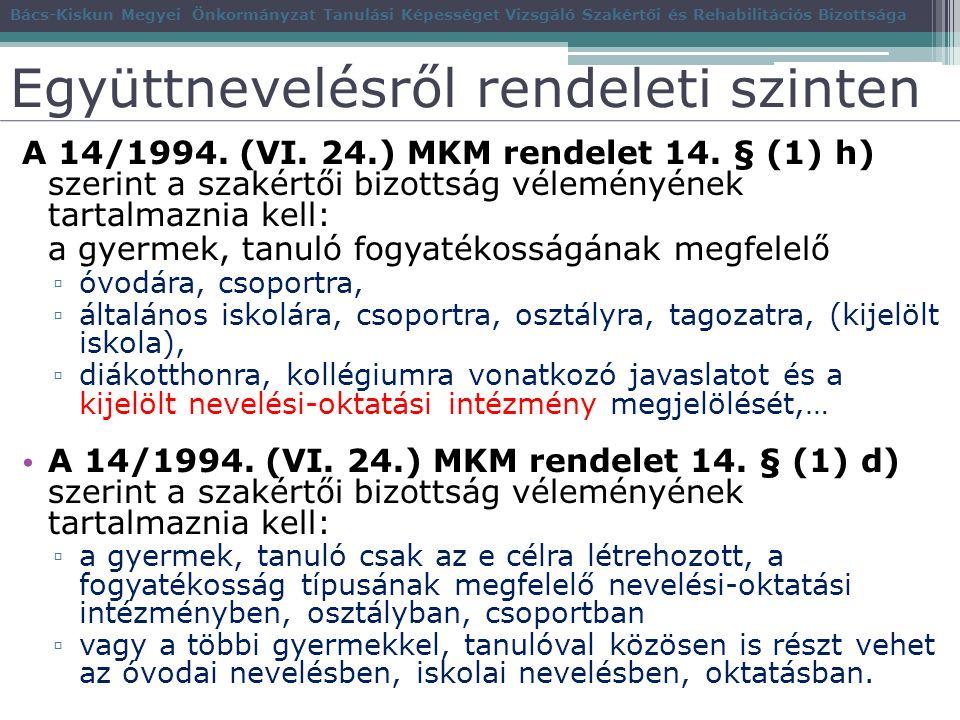 Együttnevelésről rendeleti szinten A 14/1994.(VI.