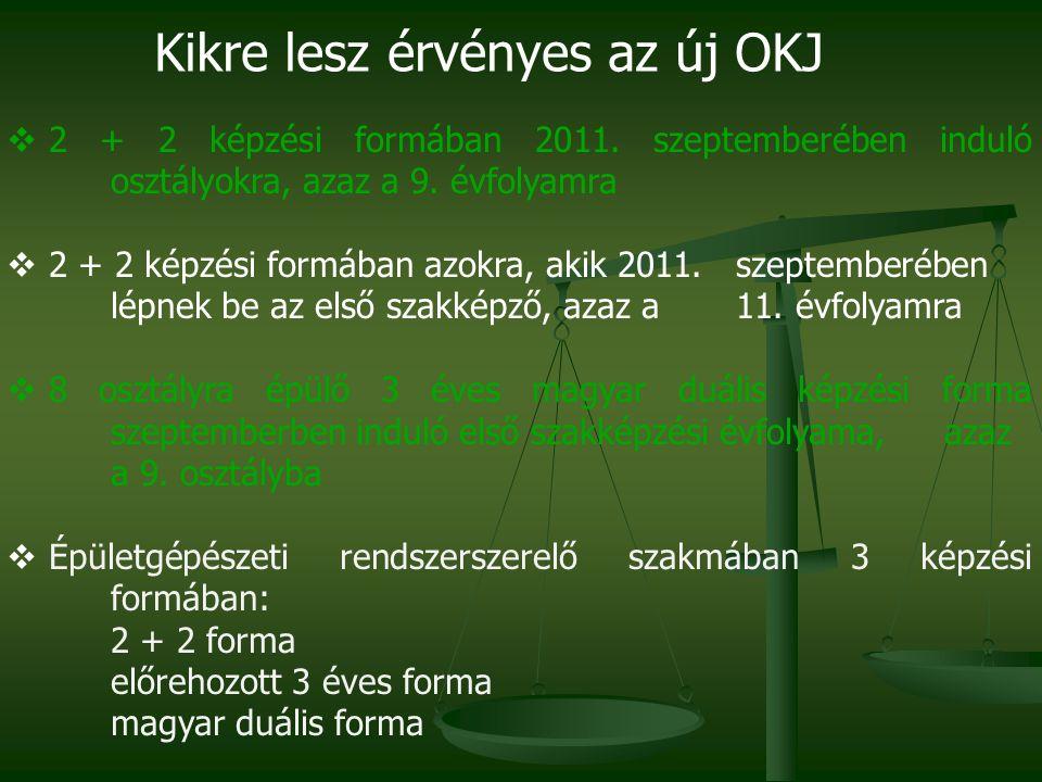 Kikre lesz érvényes az új OKJ  2 + 2 képzési formában 2011. szeptemberében induló osztályokra, azaz a 9. évfolyamra  2 + 2 képzési formában azokra,