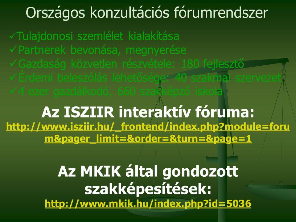 Az ISZIIR interaktív fóruma: http://www.isziir.hu/_frontend/index.php?module=foru m&pager_limit=&order=&turn=&page=1 Az MKIK által gondozott szakképesítések: http://www.mkik.hu/index.php?id=5036 Országos konzultációs fórumrendszer Tulajdonosi szemlélet kialakítása Partnerek bevonása, megnyerése Gazdaság közvetlen részvétele: 180 fejlesztő Érdemi beleszólás lehetősége: 40 szakmai szervezet 4 ezer gazdálkodó, 660 szakképző iskola