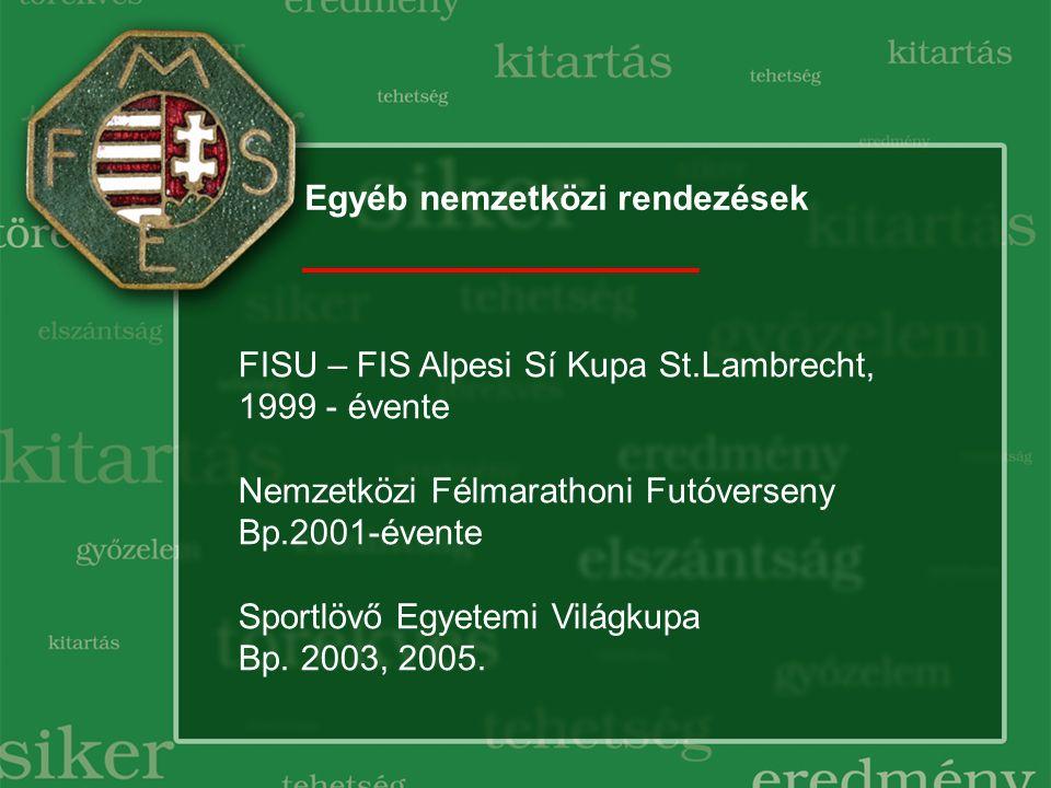 Egyéb nemzetközi rendezések FISU – FIS Alpesi Sí Kupa St.Lambrecht, 1999 - évente Nemzetközi Félmarathoni Futóverseny Bp.2001-évente Sportlövő Egyetem