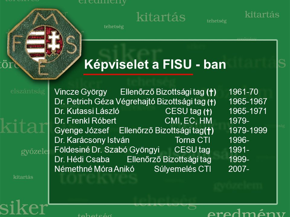 Képviselet a FISU - ban Vincze György Ellenőrző Bizottsági tag (†)1961-70 Dr. Petrich Géza Végrehajtó Bizottsági tag (†) 1965-1967 Dr. Kutassi László