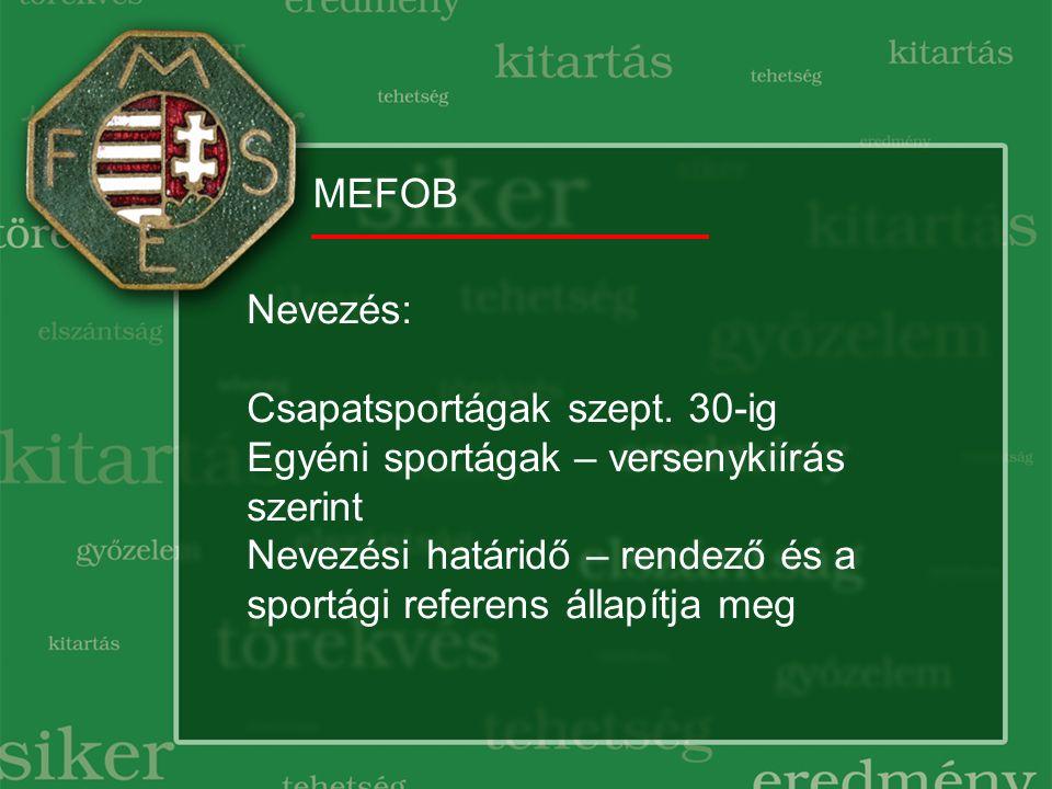 MEFOB Nevezés: Csapatsportágak szept. 30-ig Egyéni sportágak – versenykiírás szerint Nevezési határidő – rendező és a sportági referens állapítja meg