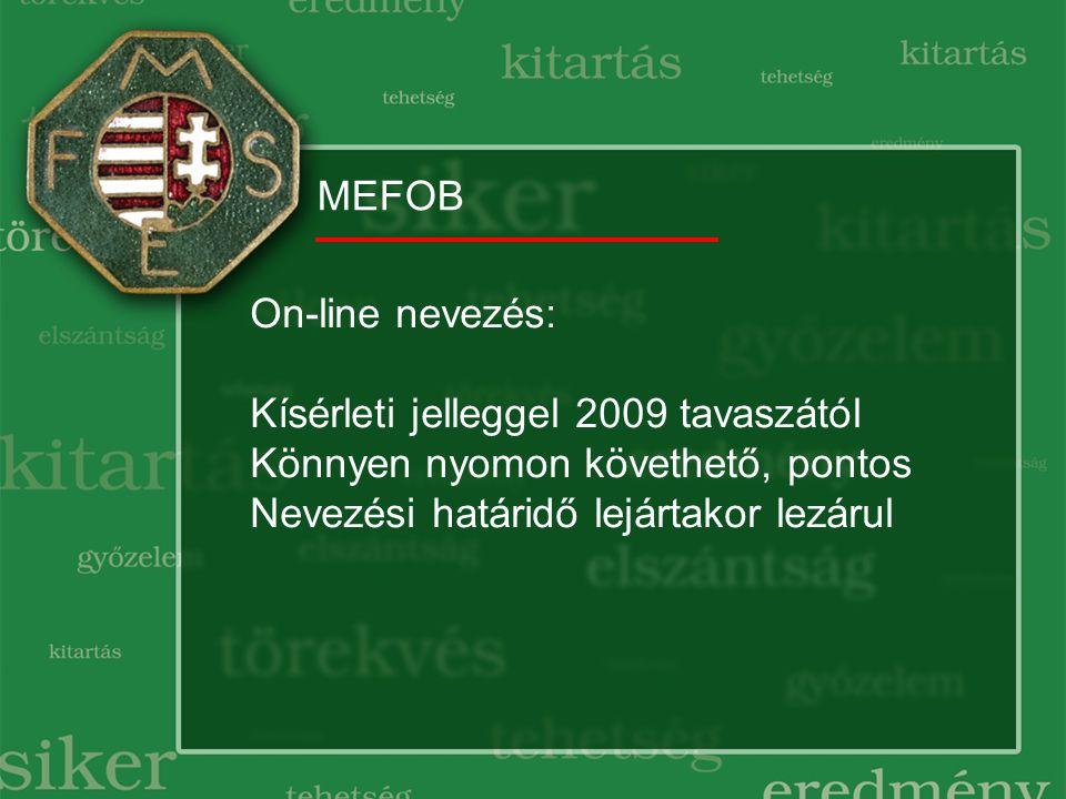MEFOB On-line nevezés: Kísérleti jelleggel 2009 tavaszától Könnyen nyomon követhető, pontos Nevezési határidő lejártakor lezárul