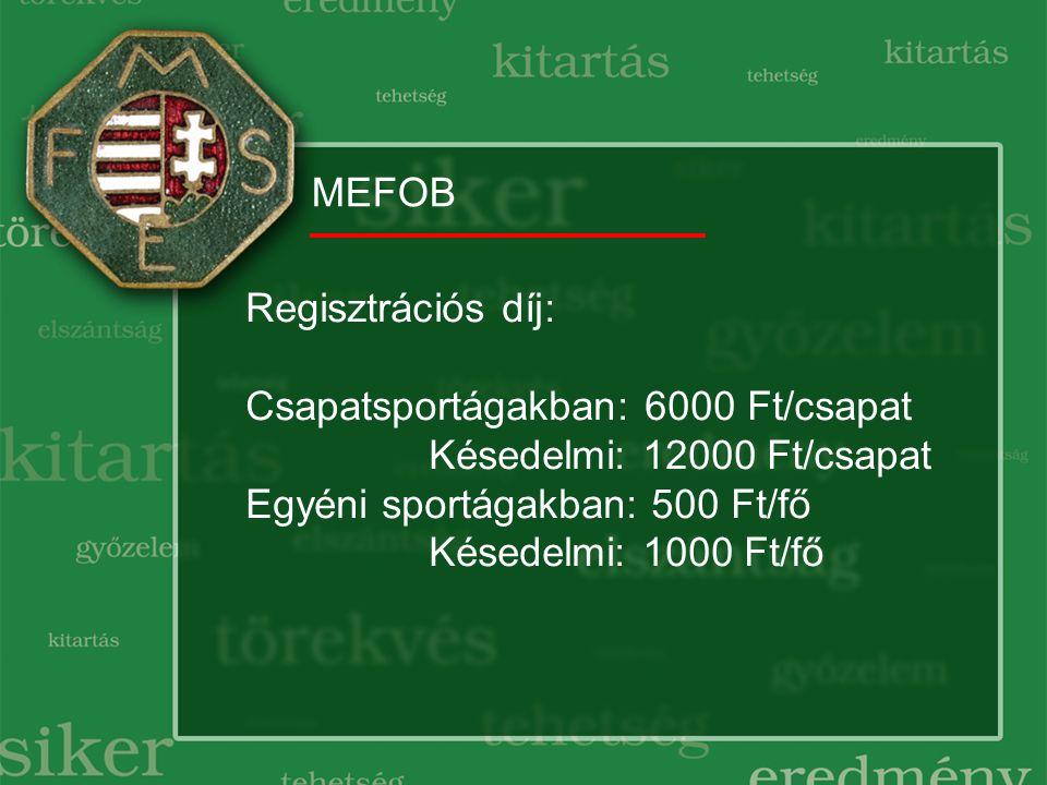MEFOB Regisztrációs díj: Csapatsportágakban: 6000 Ft/csapat Késedelmi: 12000 Ft/csapat Egyéni sportágakban: 500 Ft/fő Késedelmi: 1000 Ft/fő