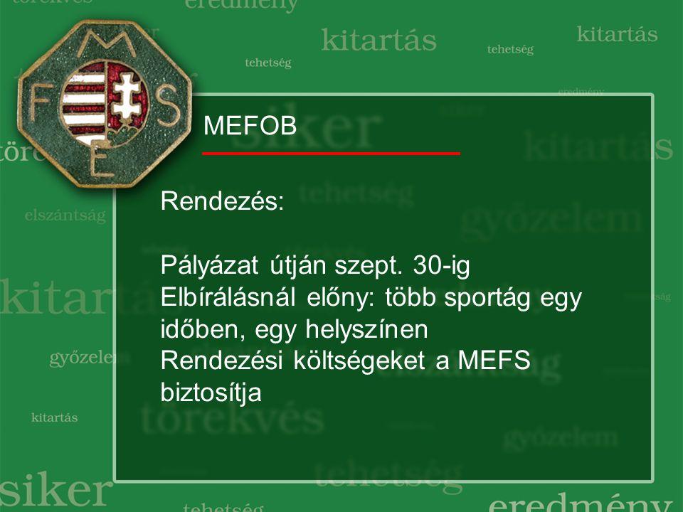 MEFOB Rendezés: Pályázat útján szept.