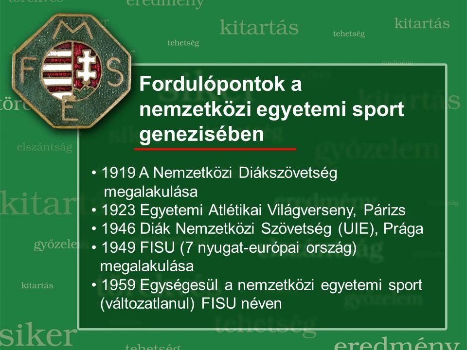 Fordulópontok a nemzetközi egyetemi sport genezisében 1919 A Nemzetközi Diákszövetség megalakulása 1923 Egyetemi Atlétikai Világverseny, Párizs 1946 Diák Nemzetközi Szövetség (UIE), Prága 1949 FISU (7 nyugat-európai ország) megalakulása 1959 Egységesül a nemzetközi egyetemi sport (változatlanul) FISU néven