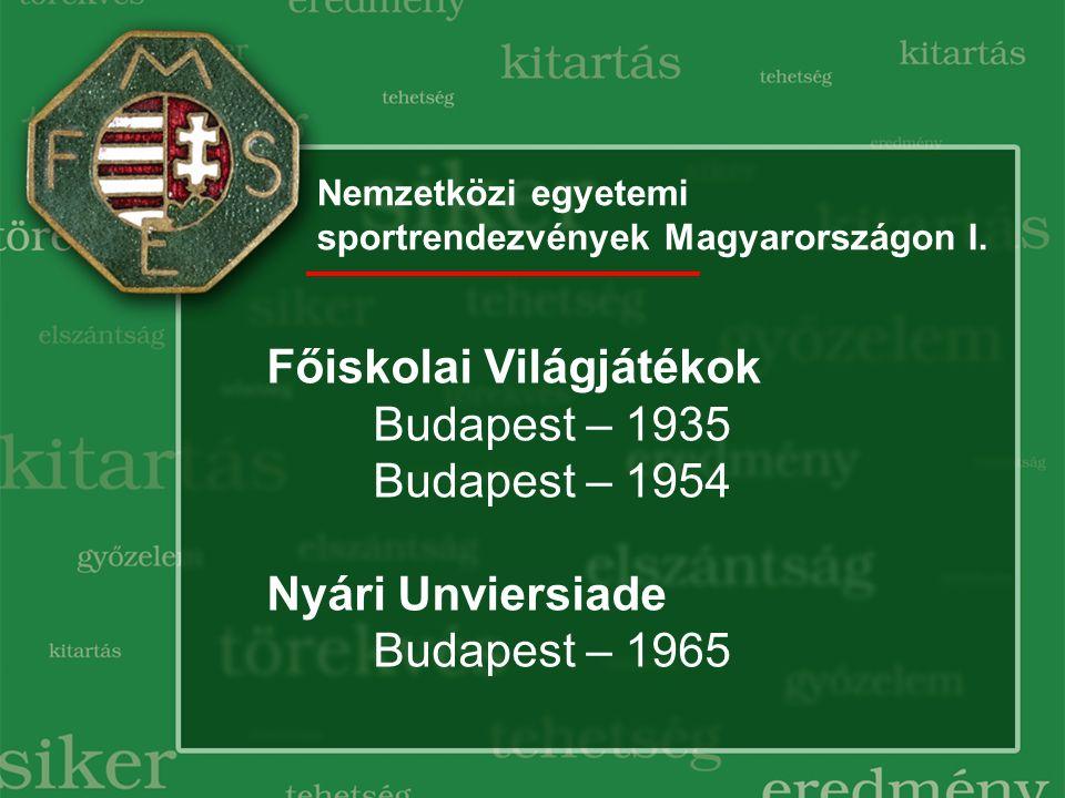 Nemzetközi egyetemi sportrendezvények Magyarországon I. Főiskolai Világjátékok Budapest – 1935 Budapest – 1954 Nyári Unviersiade Budapest – 1965