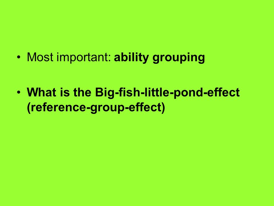 Most important: ability grouping What is the Big-fish-little-pond-effect (reference-group-effect)
