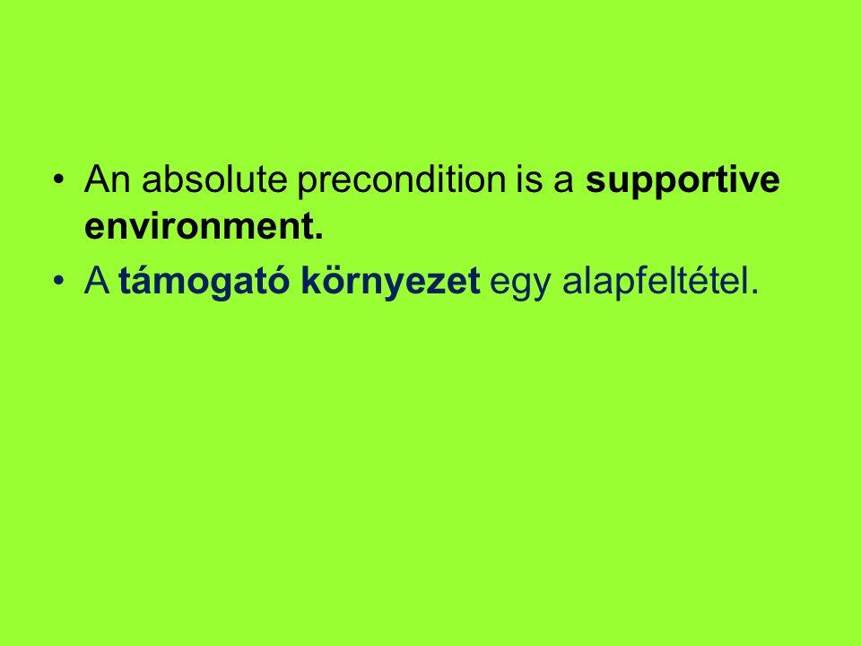 An absolute precondition is a supportive environment. A támogató környezet egy alapfeltétel.