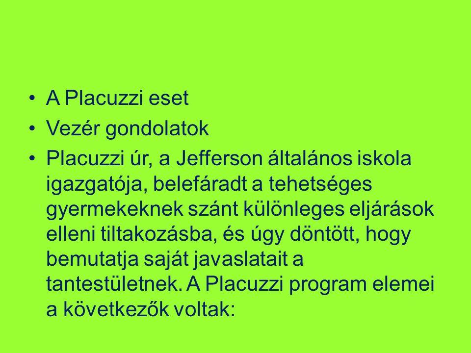 A Placuzzi eset Vezér gondolatok Placuzzi úr, a Jefferson általános iskola igazgatója, belefáradt a tehetséges gyermekeknek szánt különleges eljárások elleni tiltakozásba, és úgy döntött, hogy bemutatja saját javaslatait a tantestületnek.
