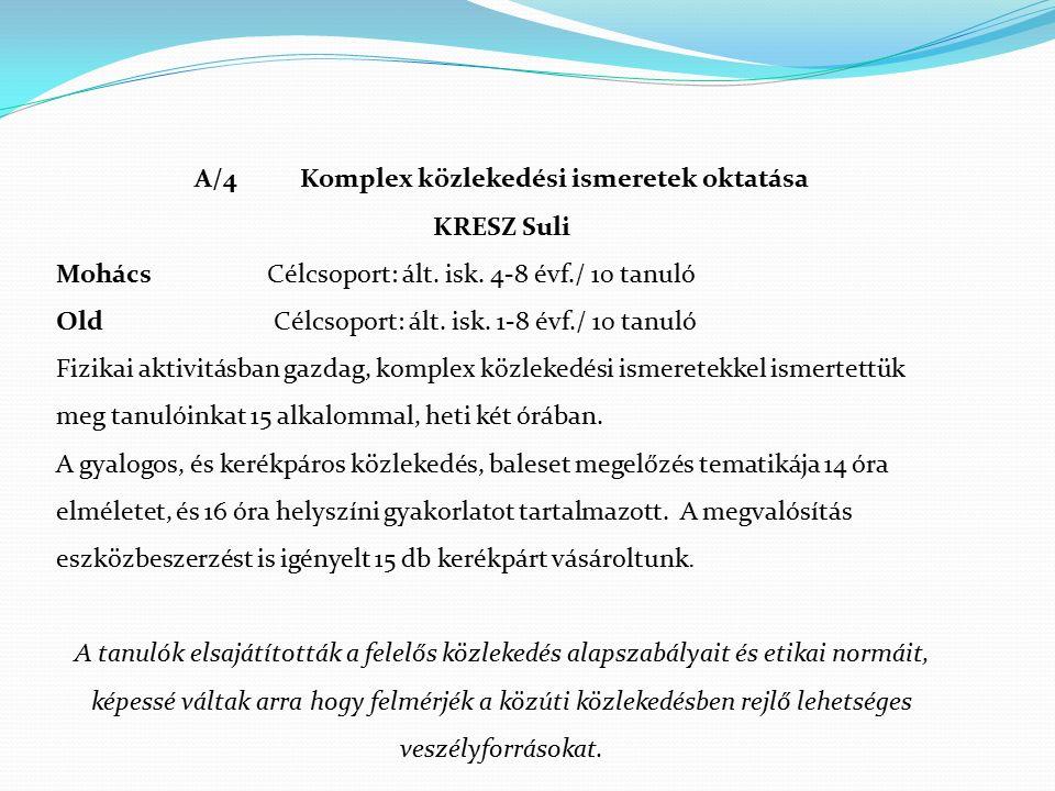 A/4 Komplex közlekedési ismeretek oktatása KRESZ Suli MohácsCélcsoport: ált. isk. 4-8 évf./ 10 tanuló Old Célcsoport: ált. isk. 1-8 évf./ 10 tanuló Fi