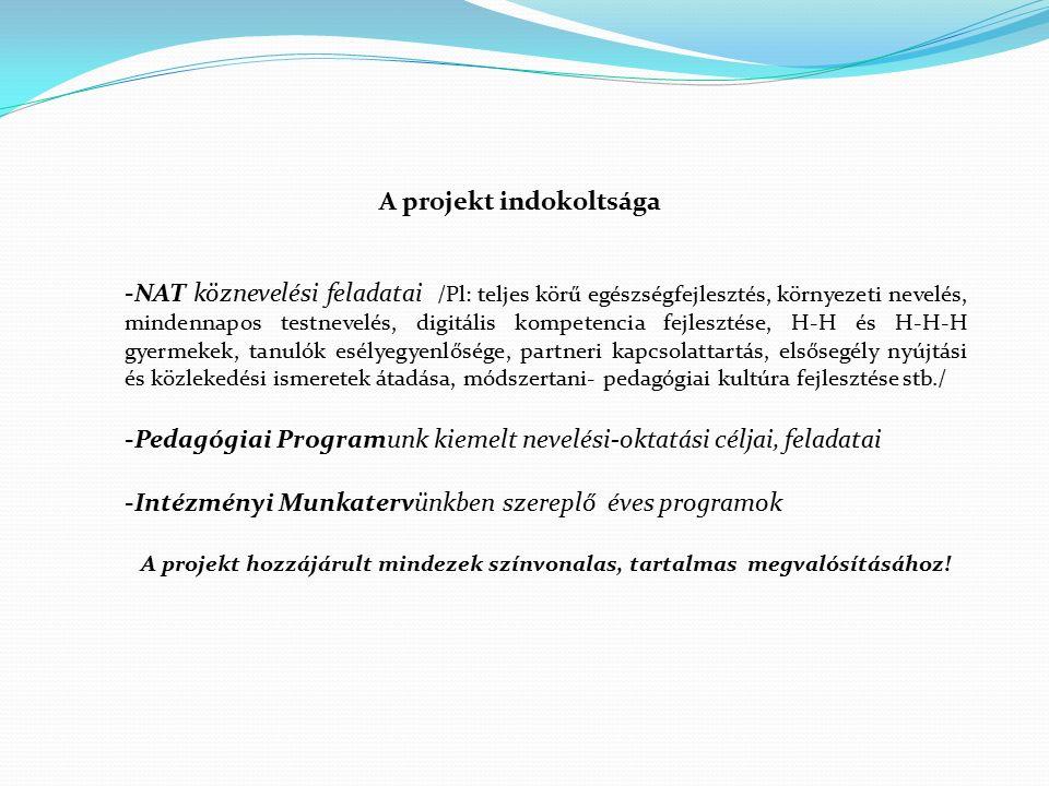 A projekt indokoltsága -NAT köznevelési feladatai /Pl: teljes körű egészségfejlesztés, környezeti nevelés, mindennapos testnevelés, digitális kompeten