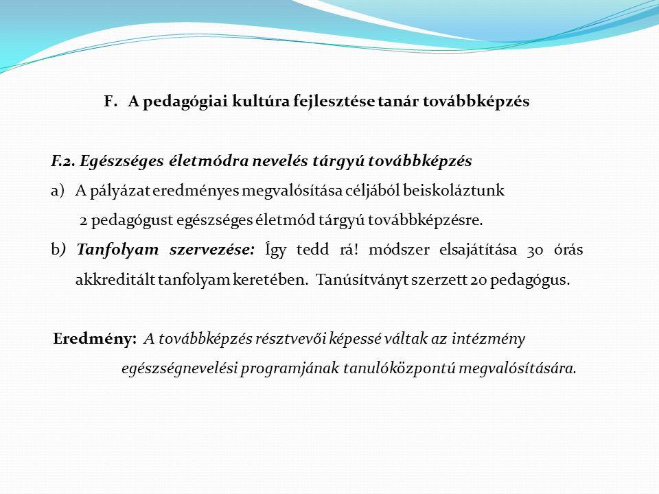 F.A pedagógiai kultúra fejlesztése tanár továbbképzés F.2. Egészséges életmódra nevelés tárgyú továbbképzés a)A pályázat eredményes megvalósítása célj