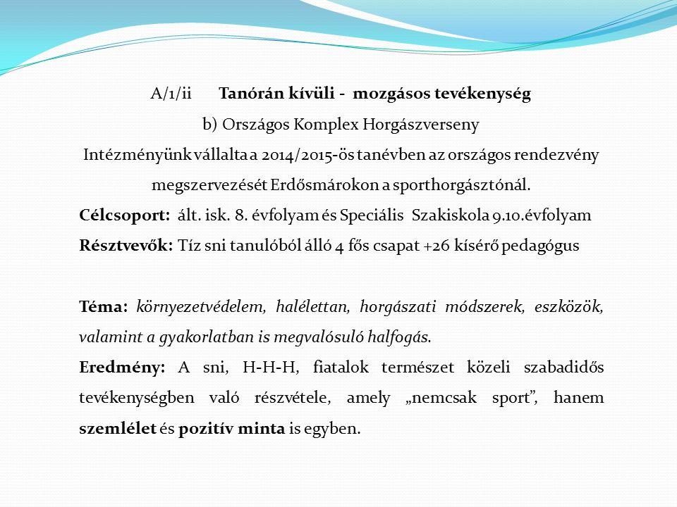 A/1/ii Tanórán kívüli - mozgásos tevékenység b) Országos Komplex Horgászverseny Intézményünk vállalta a 2014/2015-ös tanévben az országos rendezvény megszervezését Erdősmárokon a sporthorgásztónál.