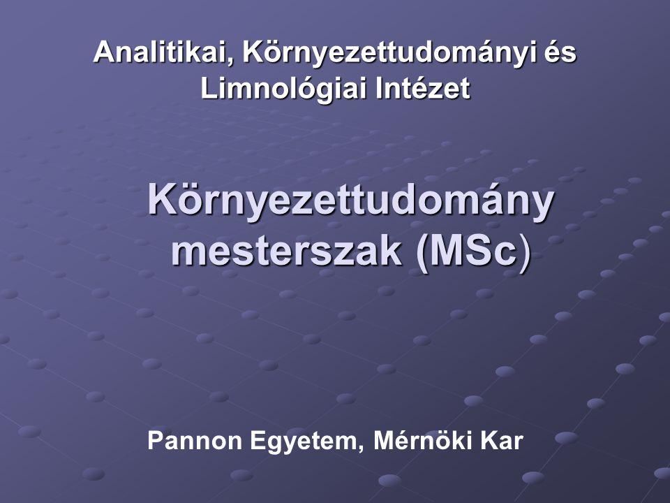 Környezettudomány mesterszak (MSc) Analitikai, Környezettudományi és Limnológiai Intézet Pannon Egyetem, Mérnöki Kar
