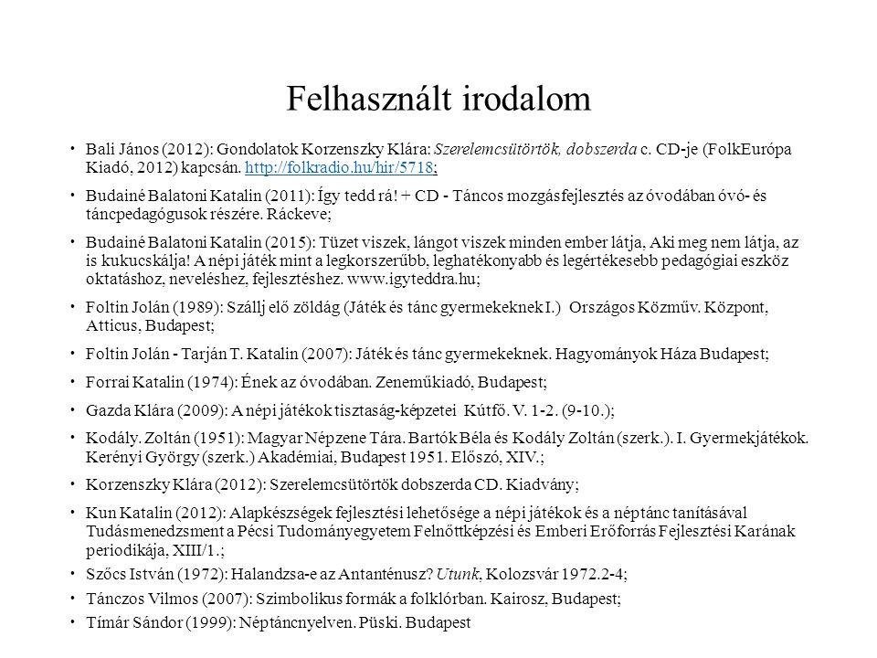 Felhasznált irodalom  Bali János (2012): Gondolatok Korzenszky Klára: Szerelemcsütörtök, dobszerda c.
