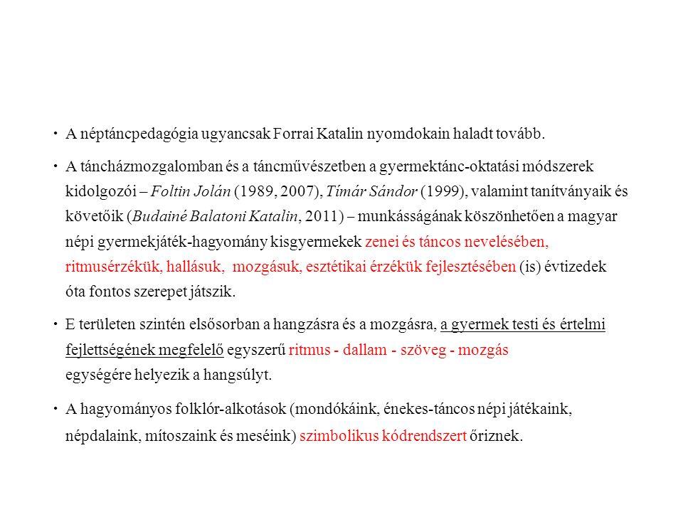  A néptáncpedagógia ugyancsak Forrai Katalin nyomdokain haladt tovább.