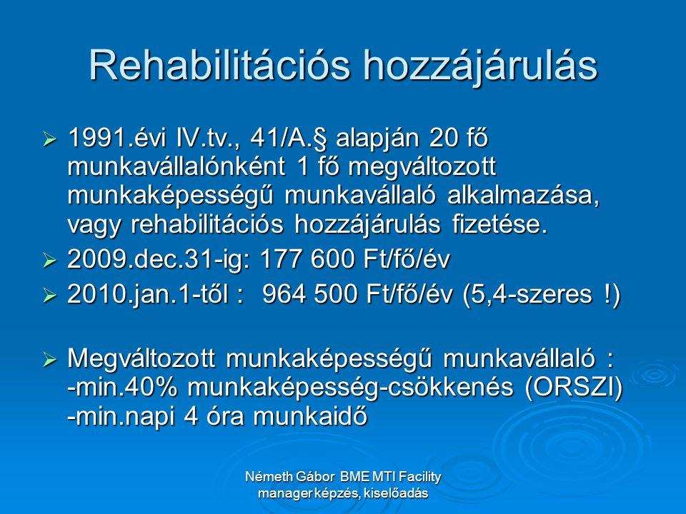 Németh Gábor BME MTI Facility manager képzés, kiselőadás Rehabilitációs hozzájárulás  1991.évi IV.tv., 41/A.§ alapján 20 fő munkavállalónként 1 fő megváltozott munkaképességű munkavállaló alkalmazása, vagy rehabilitációs hozzájárulás fizetése.
