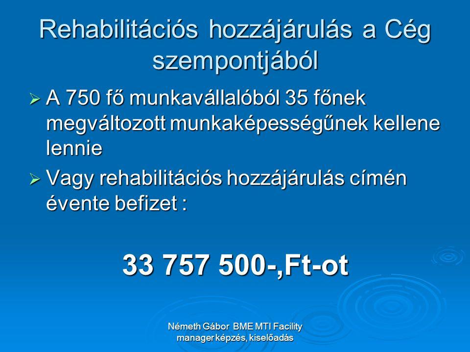 Németh Gábor BME MTI Facility manager képzés, kiselőadás Rehabilitációs hozzájárulás a Cég szempontjából  A 750 fő munkavállalóból 35 főnek megváltoz
